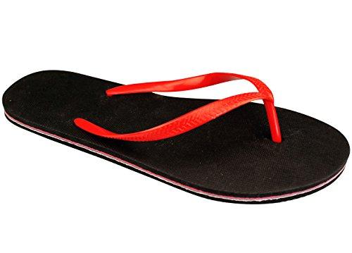 Schreuders deporte hombres de Waimea chanclas, PVC negro /rojo