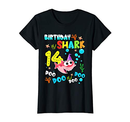 Costume Ideas For 14 Year Olds (Kids Baby Shark 14 Yrs Old 14th Birthday Doo Doo Shirt)