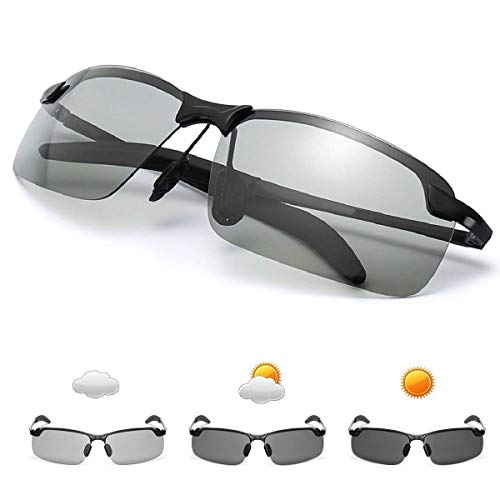 GGBuy Photochromic Driving Glasses Day and Night 2 in 1 Polarized Sport Sunglasses HD Vision Anti-Glare UV Protection for Outdoor Cycling Driving Fishing