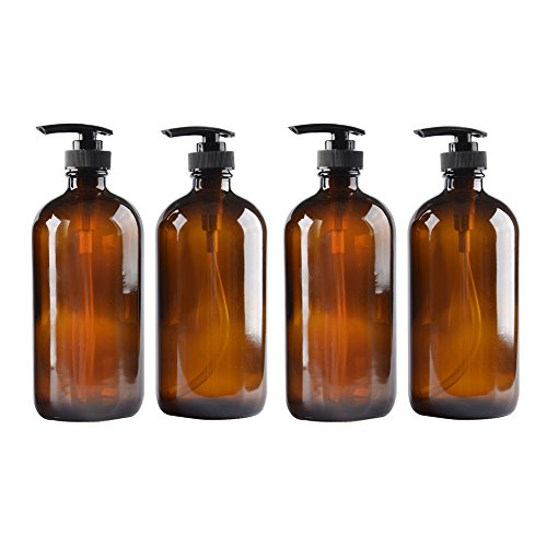 4 pack Amber Glass Bottle Bottles with Plastic Pump.Eco-friendly 8oz 8 oz Refillable Bottle for Cooking Sauces,Essential Oils,Lotions,Liquid Soaps or Organic Beauty Products(4 Chalkboard Labels free)