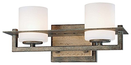 (Minka Lavery 6462-273 Compositions - Two Light Bath Vanity, Aged Patina Iron Finish with Etched Opal Glass)