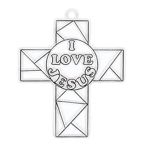 Bulk Buy: Darice Crafts for Kids Suncatcher I Love Jesus Cross 4 inches (12-Pack) -
