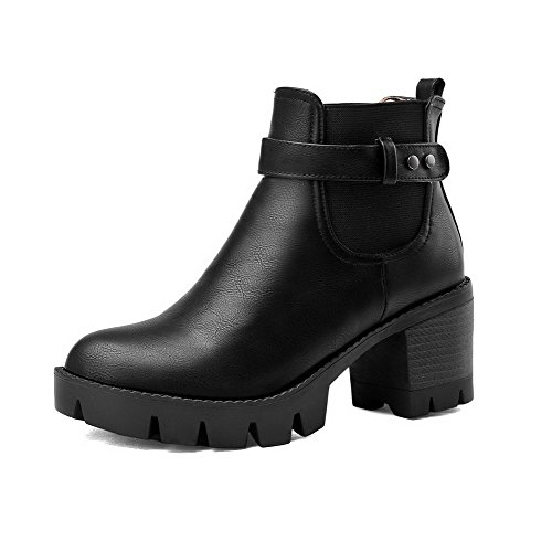 Material On Black Solid Soft Kitten Top Pull Womens AmoonyFashion Boots Low Heels zqTFOUwI