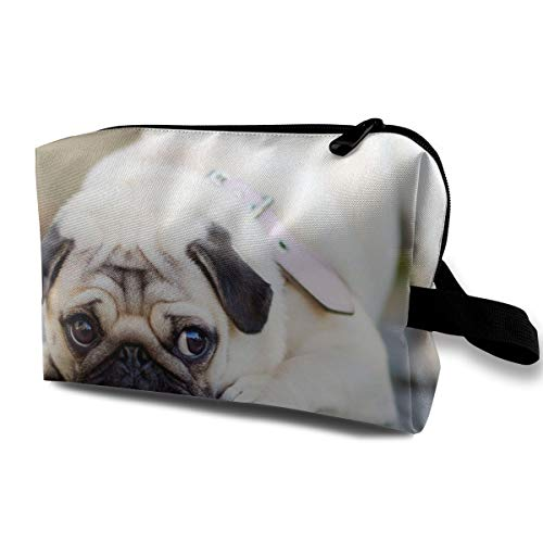 Kjhdgkshdd Makeup Bag Portable Travel Organizer Pug Photo, Stationery Case with Zipper Gifts for Women ()