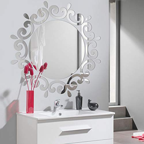 Acrylic Mirror Wall Sticker Flower Round DIY Mirror Surface Wall Decals 3D Removable Vinyl Art Wall Sticker for Home Decoration
