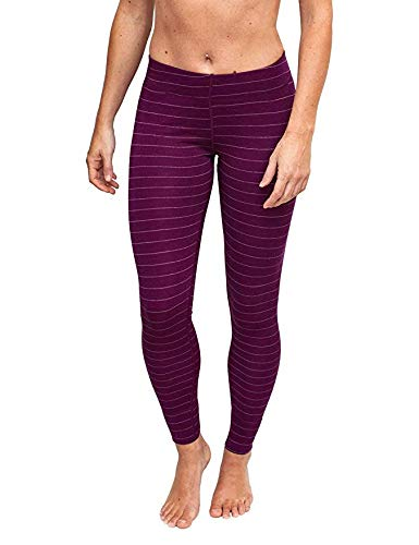 Woolx Women's Avery Midweight Merino Wool Base Layer Leggings For Warmth, Mulberry Stripe, ()