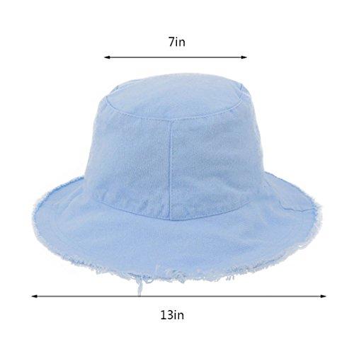 a3ae94498 Bucket Hats Caps Surkat Unisex Frayed Washed Bucket Hat Foldable Cotton  Fisherman Cap Brim Visors Sun Hat Light Blue Women Fashion Accessories | ...