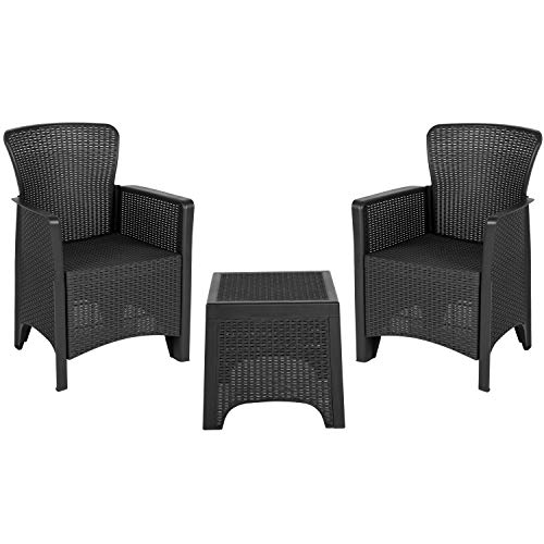 - Flash Furniture Dark Gray Faux Rattan Plastic Chair Set with Matching Side Table - DAD-SF3-2P-SET-GG