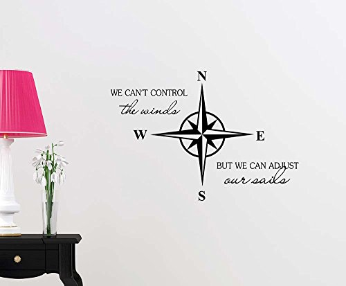 Nautical Star Compass We can't control the winds but we can adjust our sails Anchor ocean beach starfish love cute inspirational family love vinyl quote saying wall art lettering sign room decor