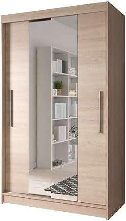 Armario para puerta corredera de Beta MODERN, 2 colores, 2 tamaños: 120/150 cm, con espejo, 2 puertas, estilo moderno, madera, roble Sonoma, 120 cm: Amazon.es: Hogar