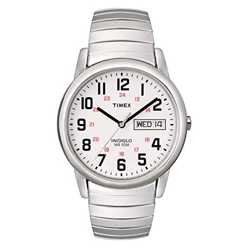 Timex Men's T20461 Easy Reader Silver-Tone Stainless Steel Expansion Band Watch (Ladies Two Tone White Dial)