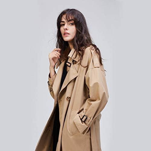 Anam Safdar Butt Trench Long à Double Boutonnage lâche élargi et allongé Manteau d'automne en Coton épais pour Femmes