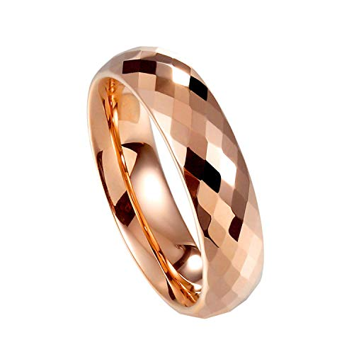 Milo Bruno - 6MM Honeycomb Diamond Cut Faceted Tungsten Wedding Ring (Rose Gold) - 7