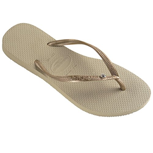 - Womens Havaianas Slim Crystal Glamour Sw Thongs Rubber Diamond Flip Flop - Sand Gray/Light Gold - 7/8