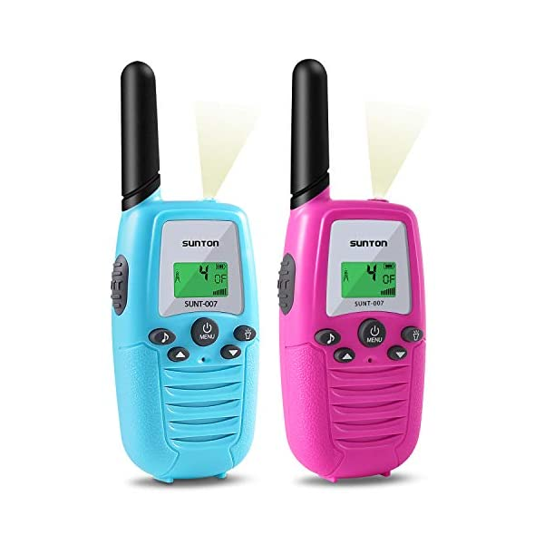 SUNTON Walkie Talkies for Kids, 22 Channels 2 Way Radio 3 Miles Long Range Toy with Backlit LCD and Flashlight, Great Gifts for Boys & Girls for Outside, Camping, Hiking