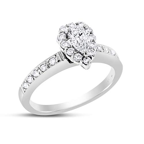 0.8 Pear Shape Ct - 0.80 Ct. Natural Diamond Pear Shape Halo Engagement Ring in Solid 14k White Gold