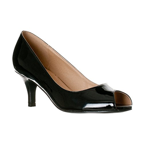 Riverberry Women's Lydia Open, Peep Toe Kitten Heel Pumps, Black Patent, - Black Fashionable Leather