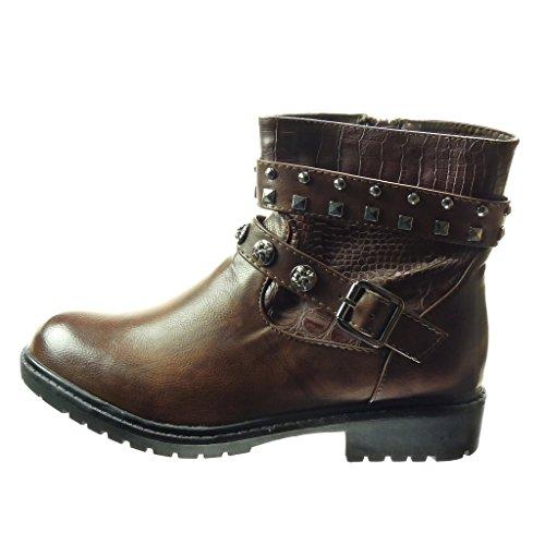 Angkorly - Zapatillas de Moda Botines botas de guma de lluvia mujer Hebilla metálico tachonado Talón Tacón ancho 3.5 CM - Marrón