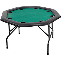 Livebest 8 Player Luxury Texas Poker Table Octagon Texas Holdem Table Cup Inserts with Folding Legs,Green Felt