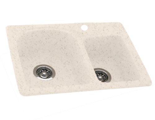 Swanstone KSDB-3322-046 33-Inch by 22-Inch Double Bowl Kitchen Sink, Almond Galaxy (Galaxy Double Bowl)