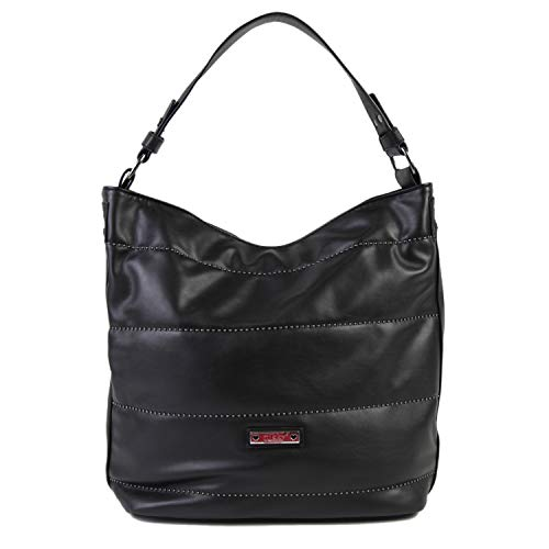 Nikky Women's Quilted Spacious Black Shoulder Bag Travel, One Size