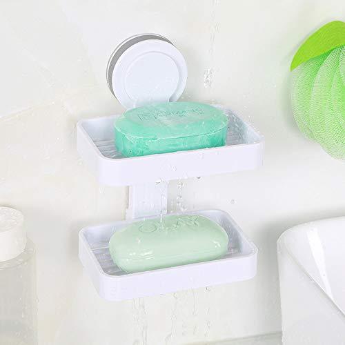 Seifenschale mit leistungsstarkem Saugnapf, fü r Badezimmer, in Weiß , aus Kunststoff, Wandmontage, weiß , Double Layers ECOCO