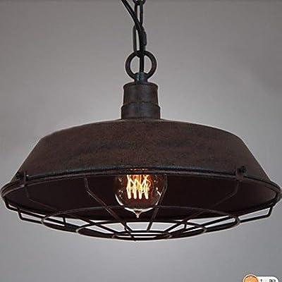 Baycheer Hl371403 Industrial Vintage Style Iron Shade Cage Adjustable Large Pendant Light Loft