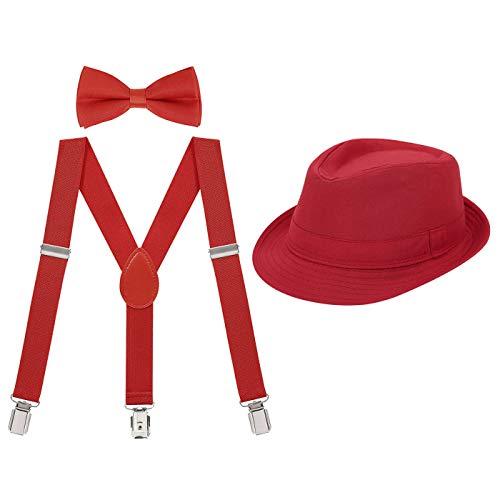 HDE Kids Adjustable Suspenders Boys Pre-Tied Bow Tie and Short Brim Fedora Hat ()