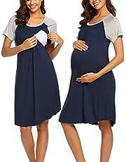 Lucyme Stillnachthemd Damen Nachthemd Sommer Kurzarm Schwanger Entbindung Stillen Umstandskleid mit Reißverschluss