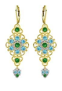 Lucia Costin Plata, Azul Claro, Verde Swarovski Crystal Pendientes, irresistible
