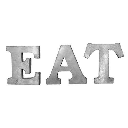 EAT Patina Gray 7 Inch Tall Tin Metal Dimensional Wall Art L