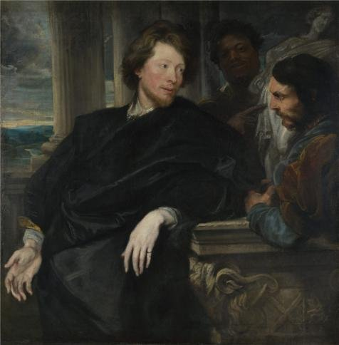 3' Coin Replica (polyster Canvas ,the Replica Art DecorativePrints on Canvas of oil painting 'Anthony van Dyck - Portrait of George Gage with Two Attendants,probably 1622-3', 16x16 inch / 41x41 cm is best for dining Room artwork and Home decoration and Gifts)