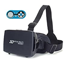 ENHANCE VR Headset and Bluetooth Game Controller for 3D Virtual Reality and Multimedia Gamepad iOS / Android Remote - No Need to Remove Phone While Switching Apps , 3D Movies or Split-Screen Videos