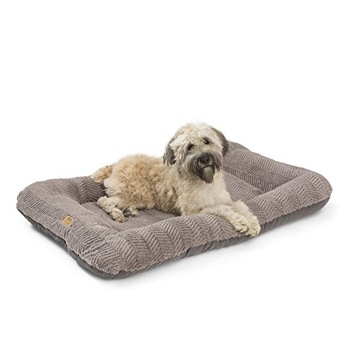 West Paw Design Heyday Dog Bed with Microsuede, Super Durable and Easy to Clean Pet Bed, Plush Boulder, Large (Eco Friendly Dog Beds)
