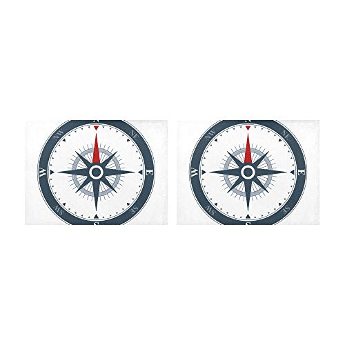 (WAWSN Placemats an Antique Compass Rose Hand-Drawn Table Mats Set of 2 Non-Slip Washable Coffee Mats Heat Resistant Kitchen Tablemats for Dining Table Indoor Outdoor14'' X 19''(35x48cm))