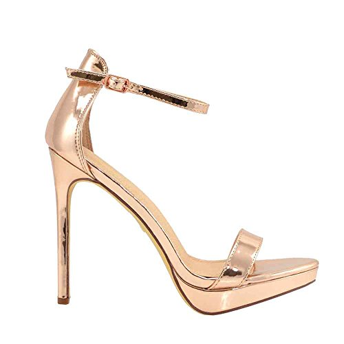 Olivia and Jaymes Women's Ankle Strap Open Peep Toe High Heels Dress, Wedding, Party Heeled Sandals | Elegant, Comfortable & Strappy (6, Rose ()