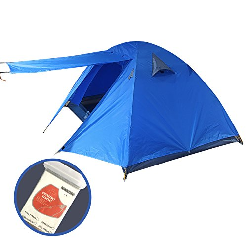 Hugemix 2 Person Tent, Perfect Double Layer Aluminum Poles 4- Season Lightweight Backpacking Dome Tent for Camping, Hiking, Road Trips, Fishing, Parks, Beach, Outdoors and Indoors