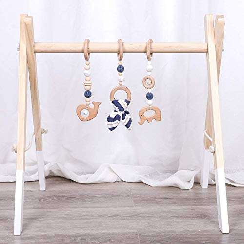 Biter teether 3pcs Wooden Play Gym Accessories Safe and Natural Beech Wood Animals Pendants Decor Sensory Montessori Crafts Blue Handmade Activity Wooden Ring Rattle