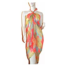 SCARF_TRADINGINC® Floral Dragonfly Bird Pareo Sarong Swimsuite Cover-up