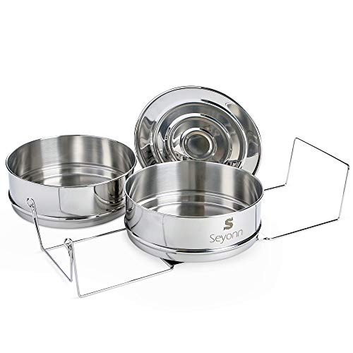 Seyonn Stackable Steamer Insert Pans and Lid for Instant Pot 5,6,8 qt Pressure Cooker, Crock Pot Accessories - 2 Stainless Steel Inserts Pan with Handle for Steaming, Baking - Premium, Food Grade by Seyonn (Image #6)