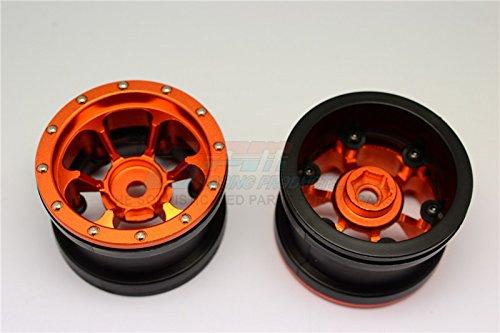 Aluminum 6 Poles Beadlock & Nylon Wheels Frame For 2.2'' Tire (Use With 12mm Hex) - 1Pr Orange