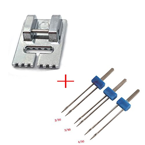 - LNKA Household Sewing Machine Parts Presser Foot 701-7 / Pintuck Foot 7 Grooves and 3 Pcs Twin Needle