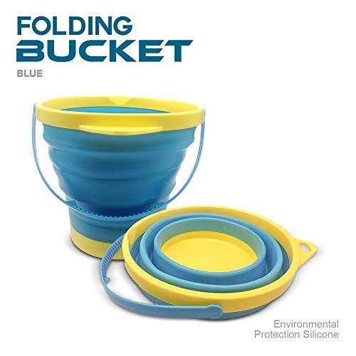 DT Toys Collapsible Bucket Silicone Foldable Pail 2.5 Liter, Sand Beach Pail - Toys With Hose Kids Buckets