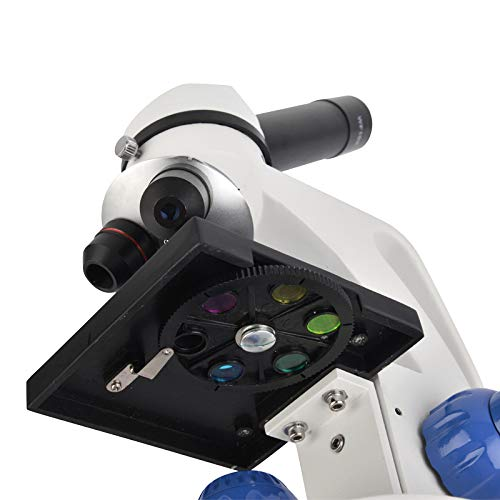 AmazonBasics Dual Light Glass Lens Metal Frame Student Microscope and Slides