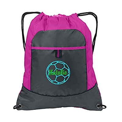 Pocket Drawstring Cinch Pack by All About Me Company   Personalized Soccer Sackpack Bag - Customize Pop Raspberry/Deep Smoke hot sale