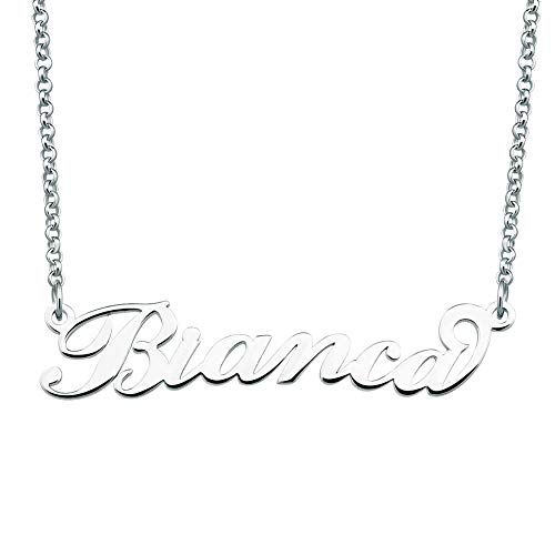 ShinyJewelry Personalized Name Necklace Custom Made Sterling Silver Pendant Gift for Women ()