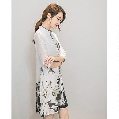 PU&PU Robe Aux femmes Mousseline de Soie Vintage / Simple,Fleur Mao Mi-long Soie , white , s