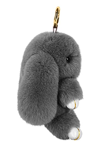 Cute Fluffy Rabbit Bunny Fur Keychain for Women Girls Pom Pom Car Key Chain Soft Plush Doll Ball Keyring Toy Handbag Purse Bag Cellphone Key Holder Charms Ring Decor Pendant Ornament Christmas Gifts by BXT (Image #2)