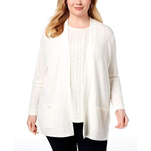 Anne Klein Women's Size Plus Malibu Cardigan, White 2X (Angora Cardigan Sweater)