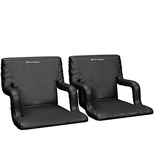 Home-Complete Stadium Seat Chair, 2 Pack- Bleacher Cushions with Padded Back Support, Armrests, 6 Reclining Positions and Portable Carry Straps